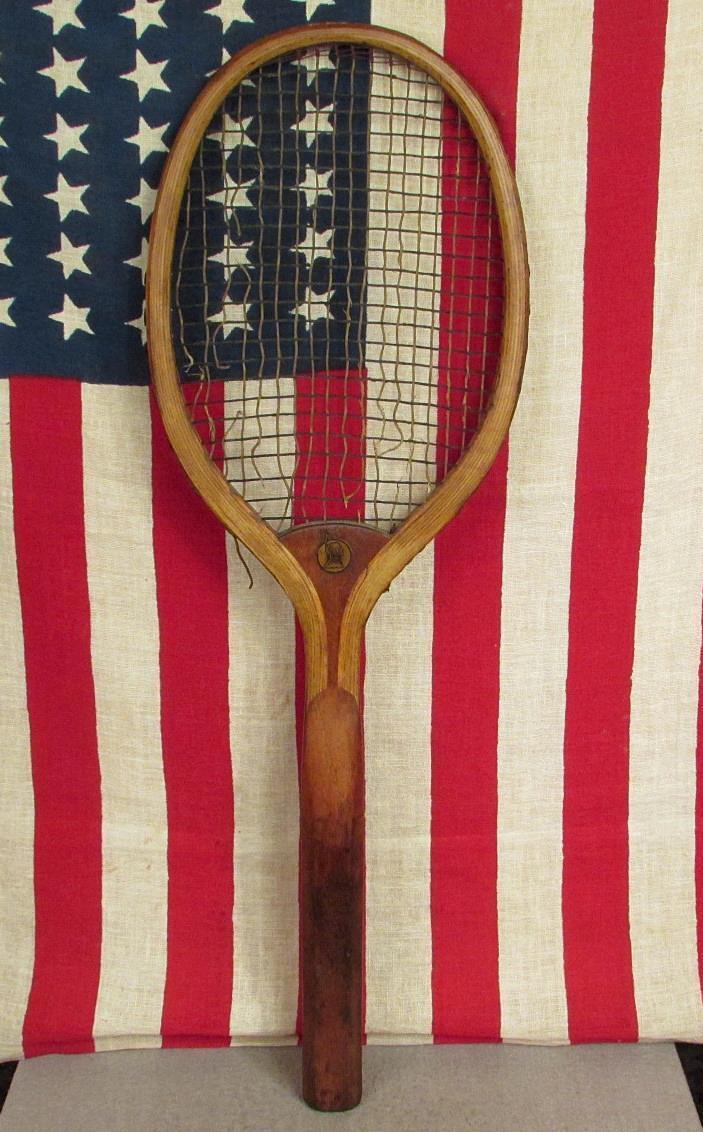 VINTAGE SPALDING antique bois Raquette de tennis Rival modèle Indian Head Logo Nice