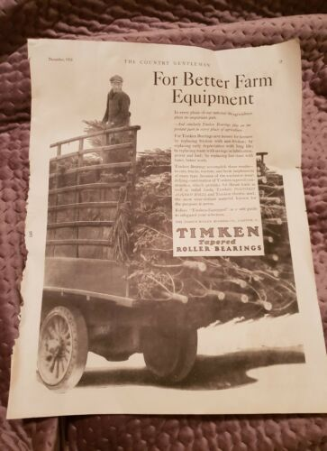 Timken Tapered Roller Bearings 1928 Advertisement