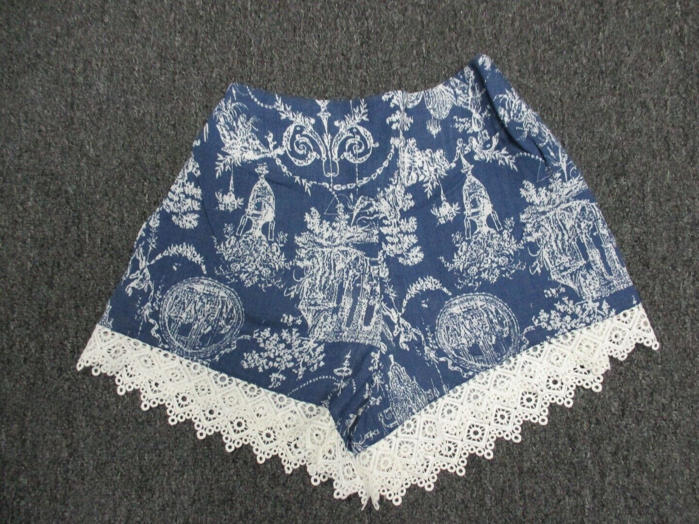 THML bluee Elastic Waist Pattern Lace Casual Shorts Sample NWT Sz S CC9744