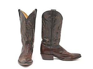 TONY LAMA Brown/Black Lizard+Leather Western Motif Cowboy Boots - GREAT - US7