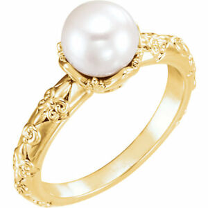 Details about Freshwater Cultured Pearl \u0026 Diamond Vintage,Inspired Ring In  14K Yellow Gold