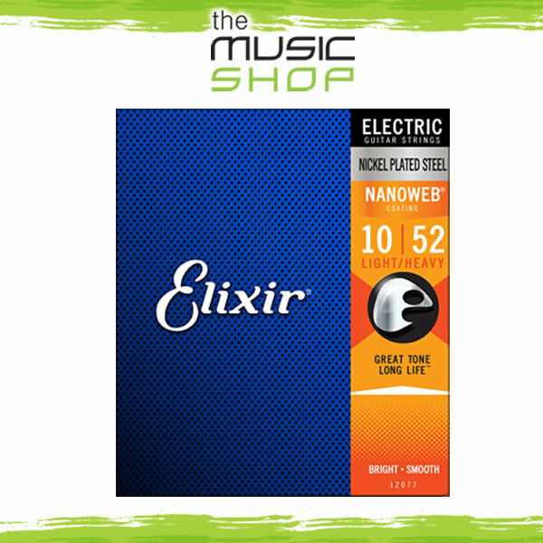 12 Sets of Elixir Nanoweb 10-52 Light-Heavy Electric Guitar Strings - 12077 Bulk