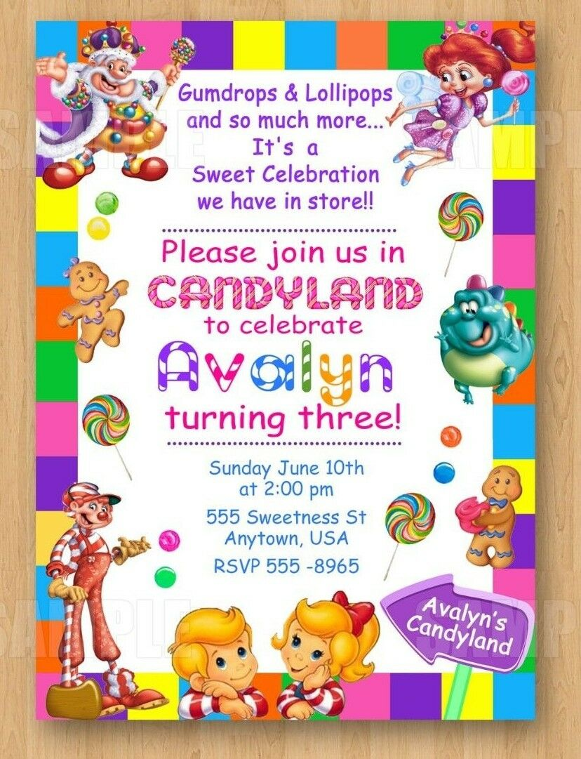 10 Candyland Birthday Party Invitations 1st 2nd 3rd 4th 5th 6th 7th 8th