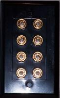 Black Speaker Wall Plate 8 Post For 4 Speakers Stereo