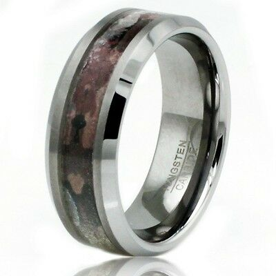 Men's Tungsten Carbide Earth Mud Camouflage Wedding Promise Band Engravable Ring