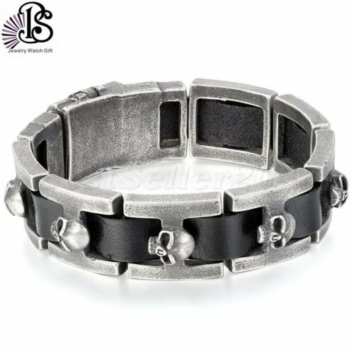 19MM Men/'s Heavy Stainless Steel Skull Black Genuine Leather Biker Bracelet Cuff