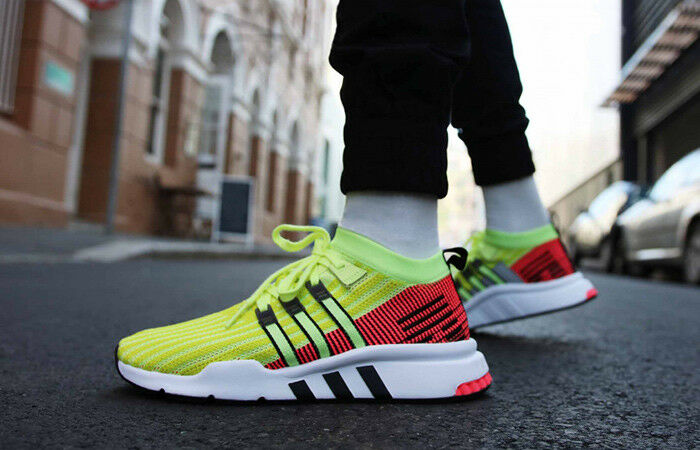Adidas eqt equipment support mid adv primeknit Glow yellow turbo red UK 8.5