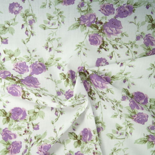 Polycotton Fabric Blooming Roses /& Rose Buds Floral Flowers Craft Material
