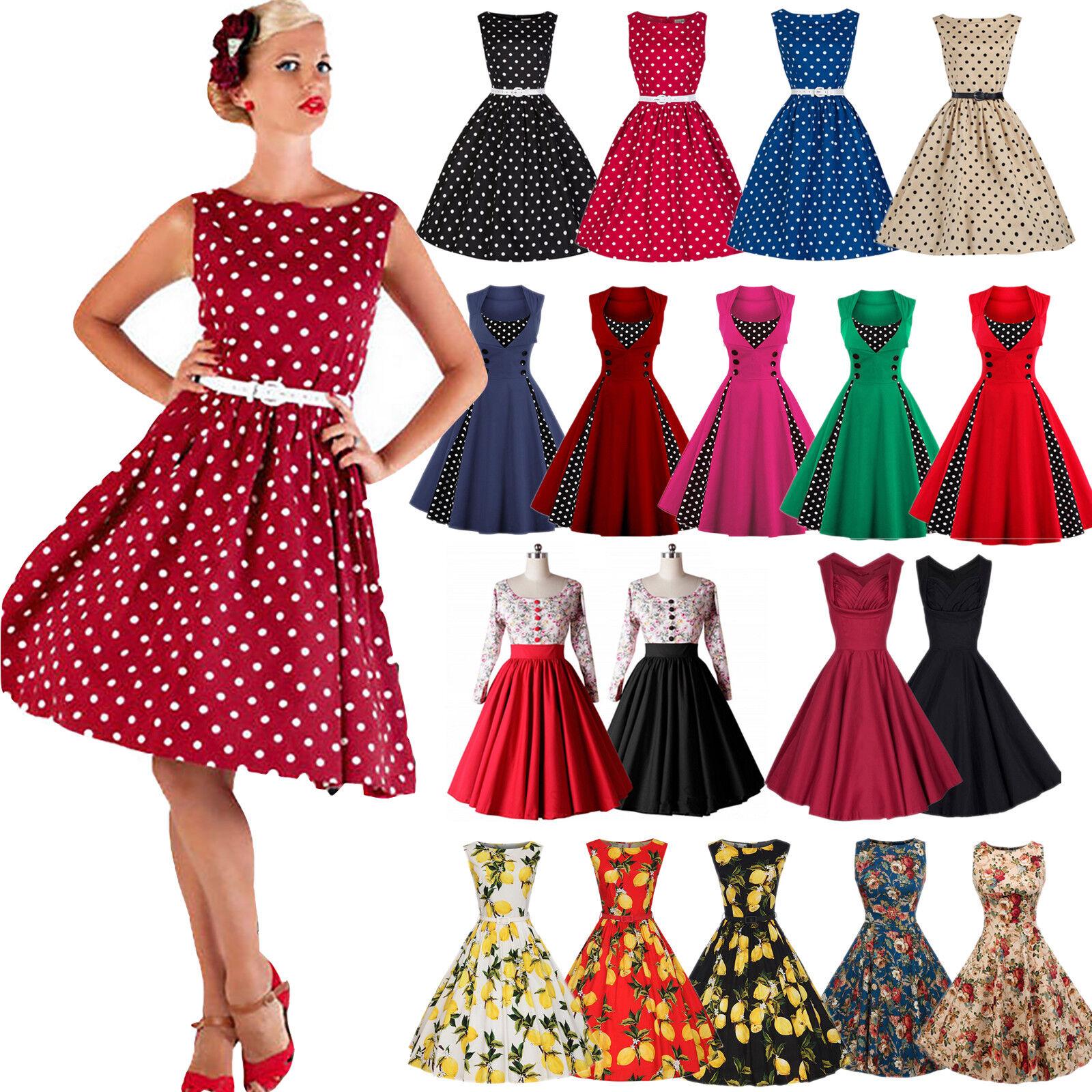 Damen Rockabilly 50er Swing Petticoat Hepburn Partykleid Ballkleid ...