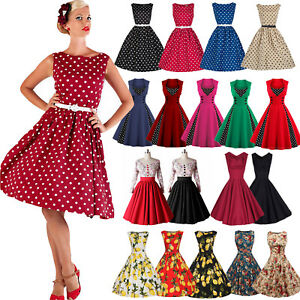 damen vintage 50er jahre rockabilly partykleid petticoat ballkleider abendkleid ebay. Black Bedroom Furniture Sets. Home Design Ideas