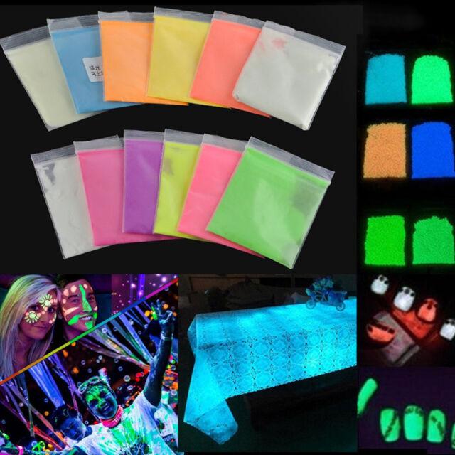 12 Colors Hot Fluorescent Super Bright Glow in the Dark Powder Glow Pigment DIY