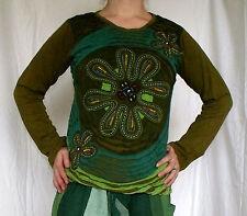 Sweatshirt Langarmshirt Pulli Stickerei Baumwolle Patchwork Indien Goa Grün