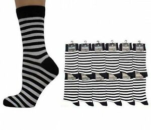 Hommes-Noir-amp-blanc-a-rayures-Chaussettes-Taille-UK-6-11-NEUF