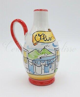 Oliera Ampolla in Ceramica  Olio o Aceto  dipinta a mano artigianato italiano
