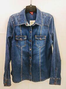 Guess-Los-Angeles-Womens-Long-Sleeve-Snap-Dark-Wash-Denim-Shirt-Large-NWT