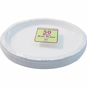 Image is loading 300-x-WHITE-PLASTIC-PLATES-OVAL-26cm-SERVING-  sc 1 st  eBay & 300 x WHITE PLASTIC PLATES OVAL 26cm SERVING TABLEWARE PARTY PLATE ...