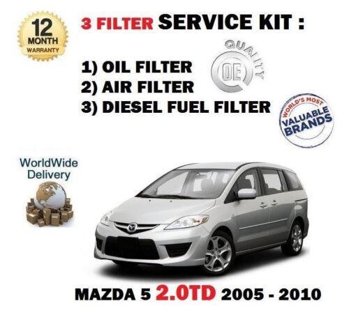 * KIT 3 qualité oe Pour Mazda 5 2.0 DT 2005-2010 Huile Air Carburant Filtres
