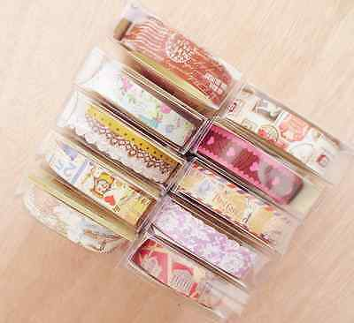 Set of 10 pretty patterned paper tapes for scrapbooking, craft & washi lovers!