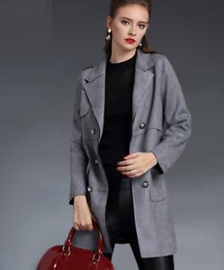 Jackets Zsell Trench Windbreaker Long Women Outwear Coats Suede Overcoat q5wOE48