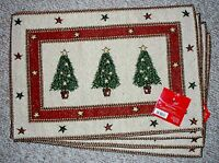 Clearance Set 4 Tapestry Placemats Christmas Tree/holiday/cream Star Border/nwt