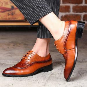 US-Men-Dress-Formal-Oxfords-Brogue-Leather-Shoes-Business-Casual-Lace-Up-British