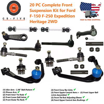 Ford F-150 F-250 Expedition 2WD 8 pc Upper Control Arm Ball Joint Tie Rod Kit