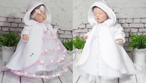 62,68,74,80,86,92 ♥ Preisknaller Einfach Zu Reparieren Der GüNstigste Preis Taufmantel Fleece Gr Mantel Weiss & Rosa