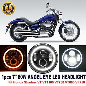 "CREE 7""  Headlight LED w/ Angel eye Fit Honda Shadow VT VT1100 VT750 VT600 VF750"
