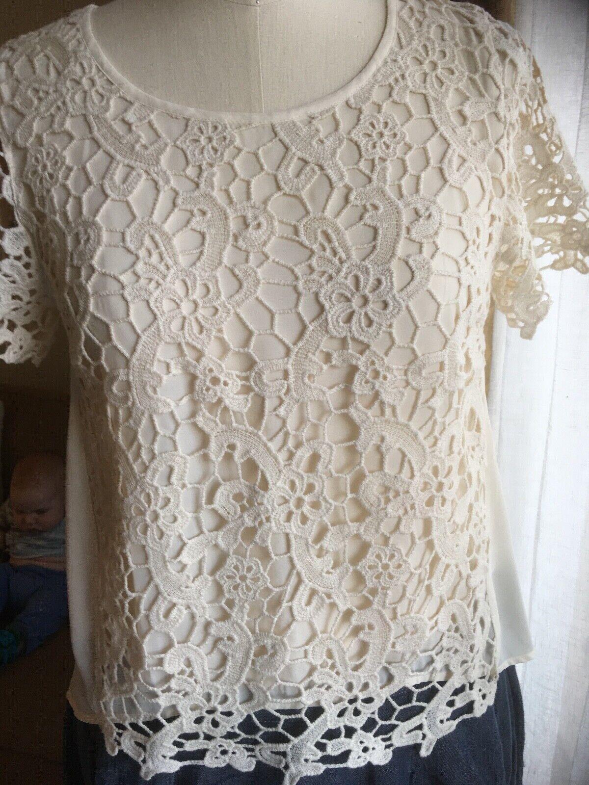 Sundance Catalog Ecru Lace Spring Summer High-Low Shirt Size M