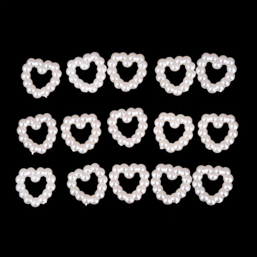 100Pcs Faux Pearl Heart Beads for Wedding Scrapbooking Craft 11mm X 11mmXJ