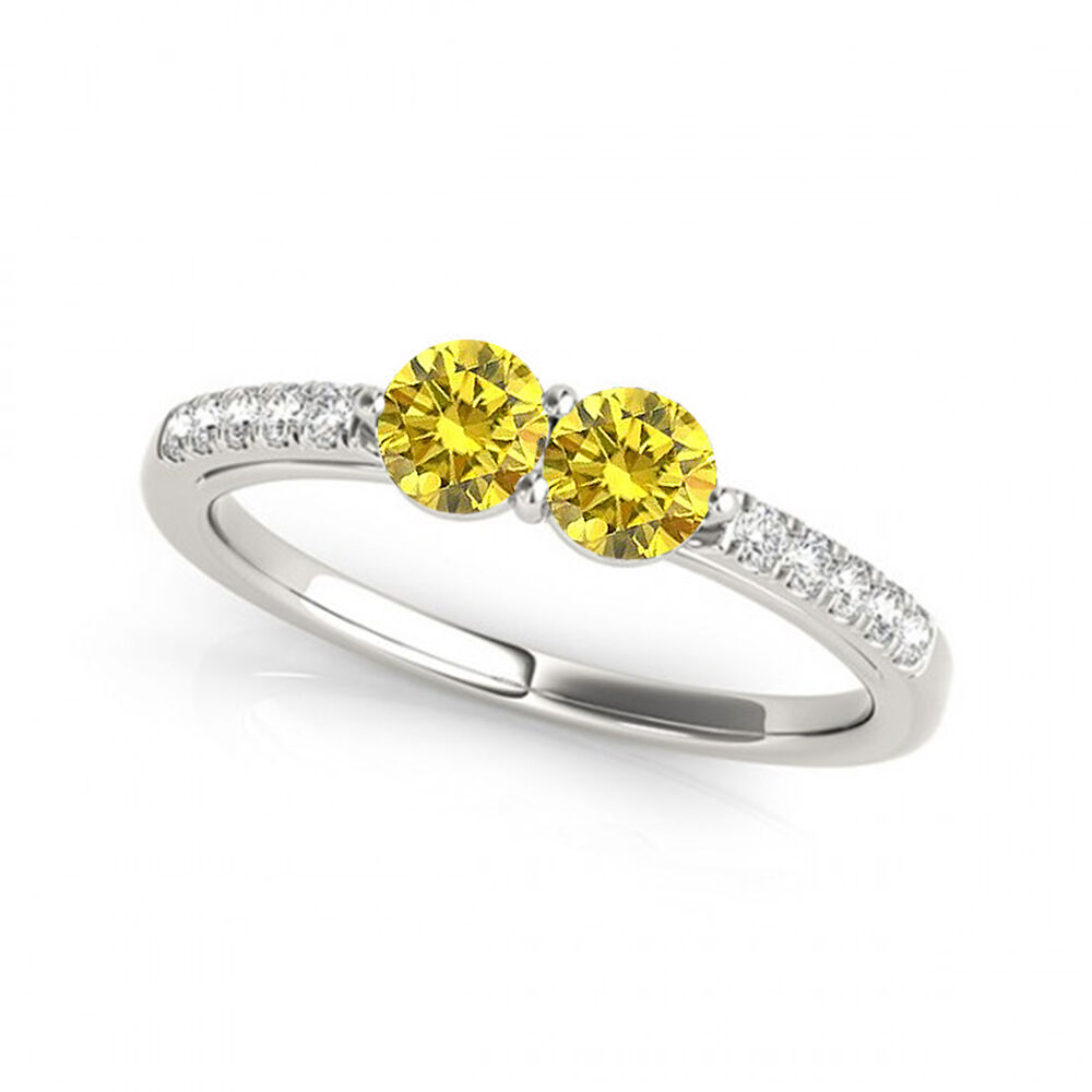 1.15  Carat Yellow VS2-SI1  Diamond Solitaire Engagement Ring 14k White gold