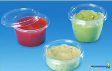 100 pcs Plastic Disposable Clear BOX Round cup with lid 50ml 2oz Sauce - 7050C+P