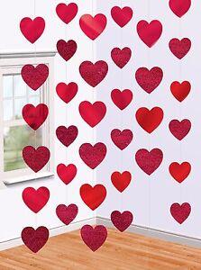6 girlanden rote herzen hochzeit deko party herz h nge. Black Bedroom Furniture Sets. Home Design Ideas