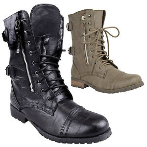 Ladies-Combat-Ankle-Boots-Army-Military-Worker-Lace-Up-Flat-Biker-Zip