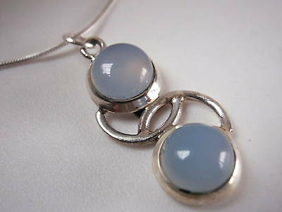 Chalcedony Dewdrop 925 Sterling Silver Necklace Hoop New Imported from India
