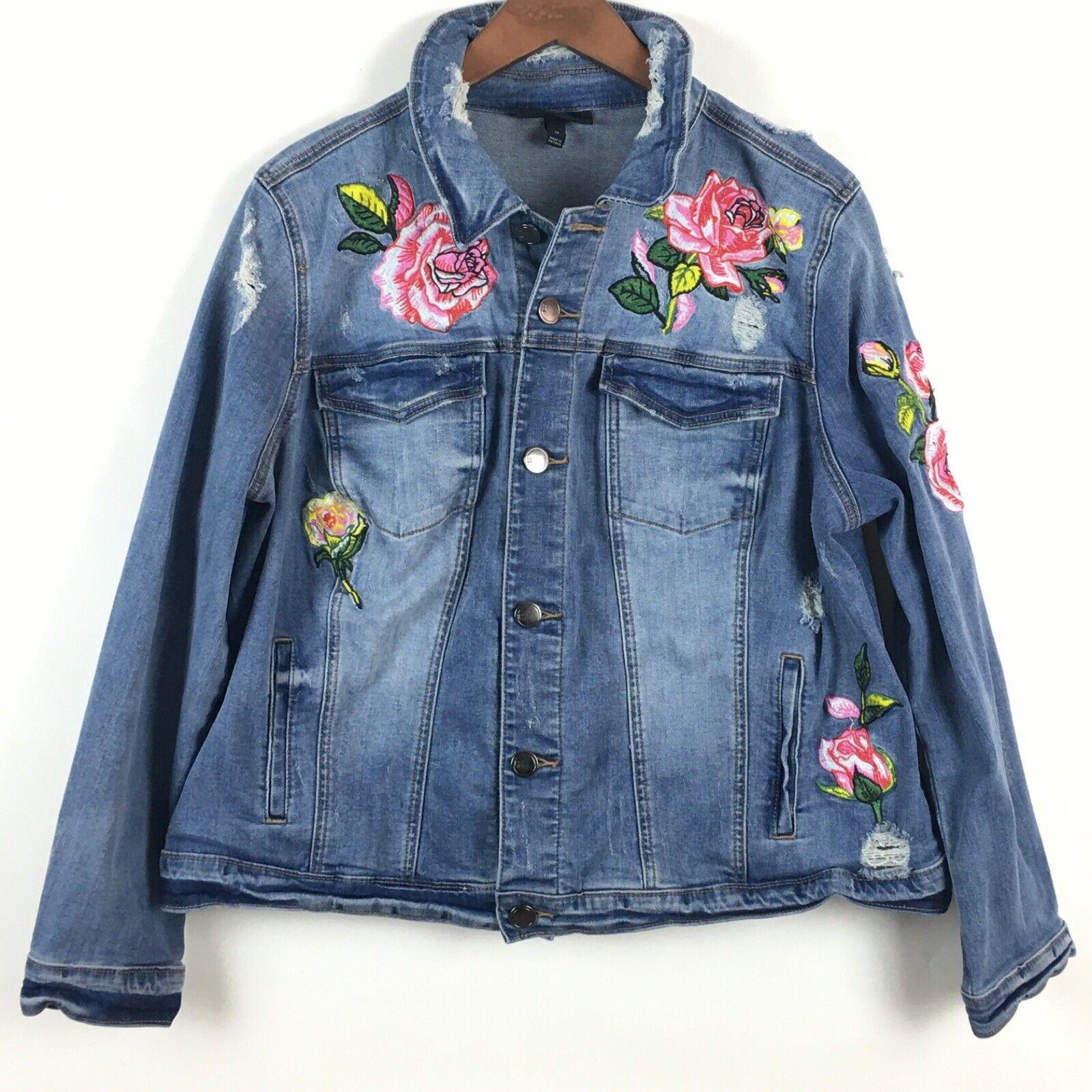 Lane Bryant Denim Jacket 18 Embroidered Floral Rose Distressed Button Up Stretch