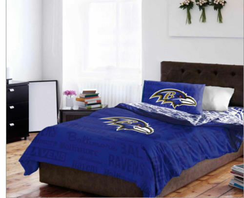 Baltimore Ravens Queen Comforter & Sheets, 5 Piece NFL Bedding, NEW
