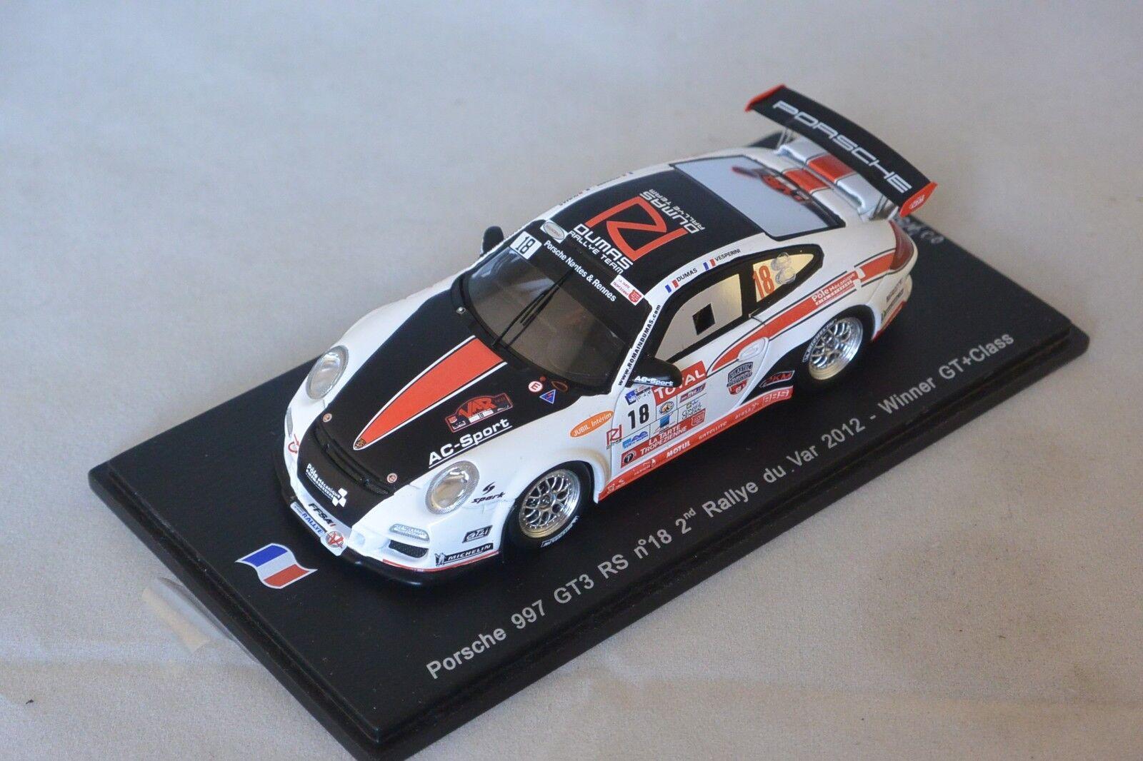 Spark SF052 - PORSCHE 997 GT3 RS n 18 2nd Rallye Var 2012 1er GT R. Dumas 1/43