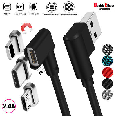 Suitable for Android Micro Double Elbow 90 Degree Data Cable with Light for Game Use