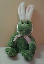 "Animal Adventure Green Plush Frog Easter Bunny Rabbit Ears 12"" stuffed animal"