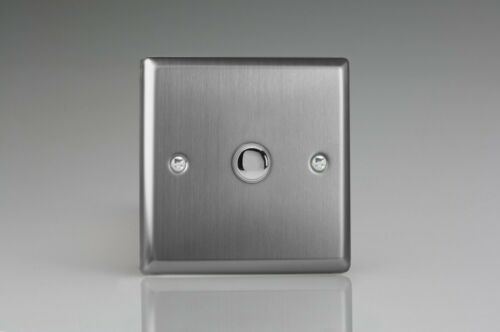 Varilight Classic Brushed Steel 6 Amp 1-Way Push-to-Make Momentary Switches