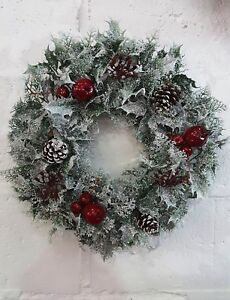Large 41cm Artificial Christmas Wreath Snow White Berries Holly Ivy Fern Foliage