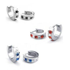 Creolen-Ohrring-Schnappverschluss-Edelstahl-rot-schwarz-blau-Kristalle-neu