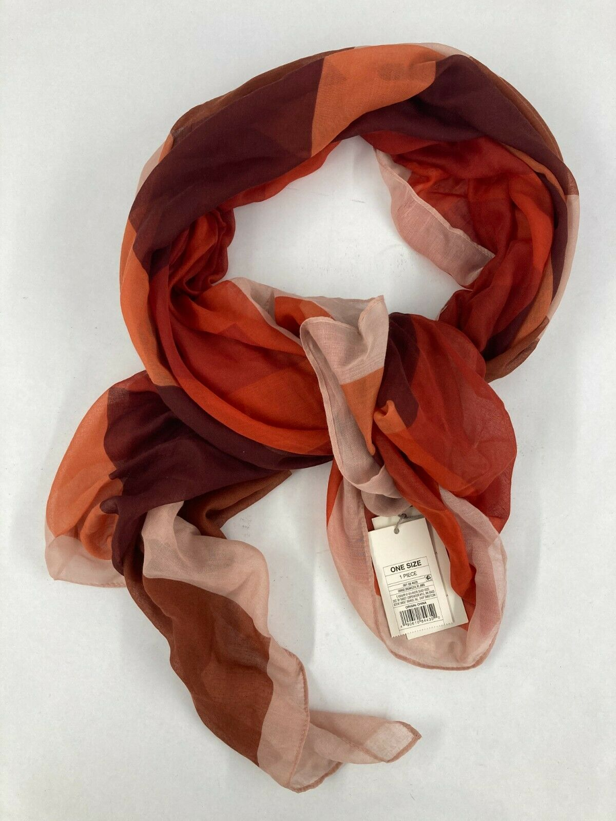 A New Day Oversized Light-Weight Orange Dream Color Block Scarf 72