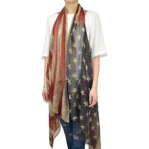 Women/'s Vintage Faded Patriotic American Flag Cardigan Sleeveless Vest Scarf
