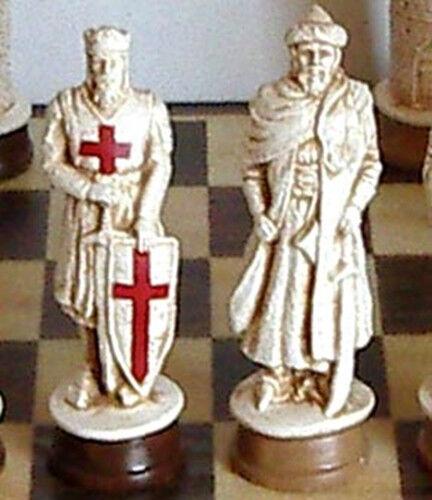 MASSIVE CRUSADERS  CHESS MEN - Hefatto SET - K = 4.75  (bianca Statues) 363  Sconto del 40%
