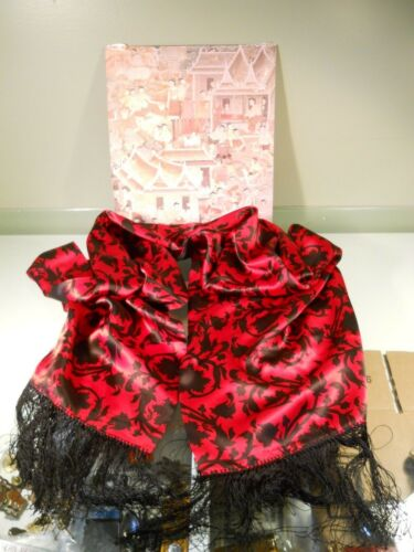 "jim thompson scarf thai silk 72"" red & black desig"