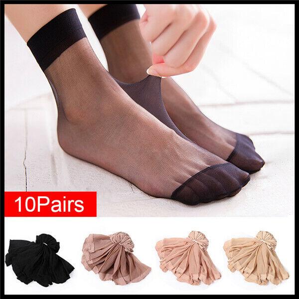 Amazing 10 Pairs Women Thin Transparent Crystal Silk Socks Ankle Low Cut Socks