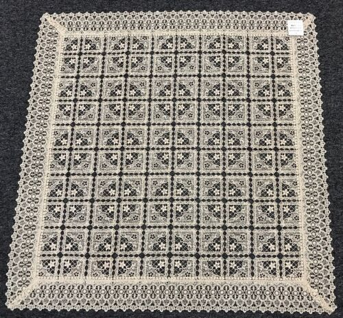 Elegantlinen Embroidered Lace Tablecloth Topper Full Cutwork 36x36 - Beige #020