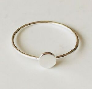 Genuine-925-Sterling-Silver-Circle-Disc-Stackable-Ring-Geometric-Size-6-7-8-9